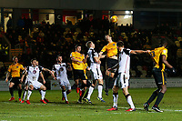 Mickey Demetriou of Newport County heads the ball towards goal during the Sky Bet League Two match between Newport County and Morcambe at Rodney Parade, Newport, Wales, UK. 23 January 2018