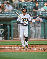 Jo Adell (7) of the Salt Lake Bees at bat against the Reno Aces at Smith's Ballpark on May 6, 2021 in Salt Lake City, Utah. The Aces defeated the Bees 5-4. (Stephen Smith/Four Seam Images)