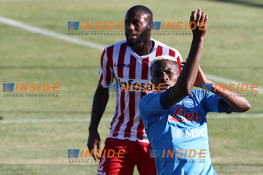 Victor Osimhen of SSC Napoli gestures<br /> during the friendly football match between SSC Napoli and SS Teramo Calcio 1913 at stadio Patini in Castel di Sangro, Italy, September 04, 2020. <br /> Photo Cesare Purini / Insidefoto