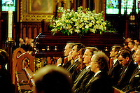 Montreal. CANADA -   May 31, 2000    File Photo  -  Jean Chretien, Lucien Bouchard, Pierre Bourque attend the funerals of hockey player Maurice Richard  celebrated by Jean-Claude Turcotte  at Notre-Dame Basilica,<br /> <br /> File Photo : Agence Quebec Pressse - Pierre Roussel