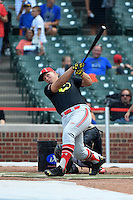 Luken Baker (9) of Oak Ridge High School in Spring, Texas during the home run derby before the Under Armour All-American Game on August 16, 2014 at Wrigley Field in Chicago, Illinois.  (Mike Janes/Four Seam Images)