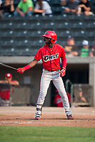 Orem Owlz center fielder D'Shawn Knowles (4) at bat during a Pioneer League game against the Missoula Osprey at Ogren Park Allegiance Field on August 19, 2018 in Missoula, Montana. The Missoula Osprey defeated the Orem Owlz by a score of 8-0. (Zachary Lucy/Four Seam Images)