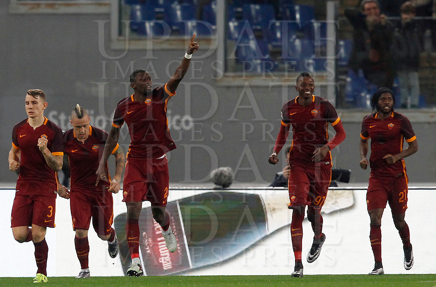 Calcio, Serie A: Roma vs Milan. Roma, stadio Olimpico, 9 gennaio 2016.<br /> Roma's Antonio Ruediger, center, celebrates with teammates after scoring during the Italian Serie A football match between Roma and Milan at Rome's Olympic stadium, 9 January 2016.<br /> UPDATE IMAGES PRESS/Riccardo De Luca