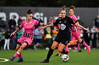 Woluwe's Sheila Broos (20) pictured in a fight for the ball with forward Ylenia Carabott of Sporting Charleroi during a female soccer game between Sporting Charleroi and FC Femina White Star Woluwe on the second matchday of the 2020 - 2021 season of Belgian Scooore Women s SuperLeague , friday 4 th of September 2020  in Marcinelle , Belgium . PHOTO SPORTPIX.BE | SPP | DAVID CATRY