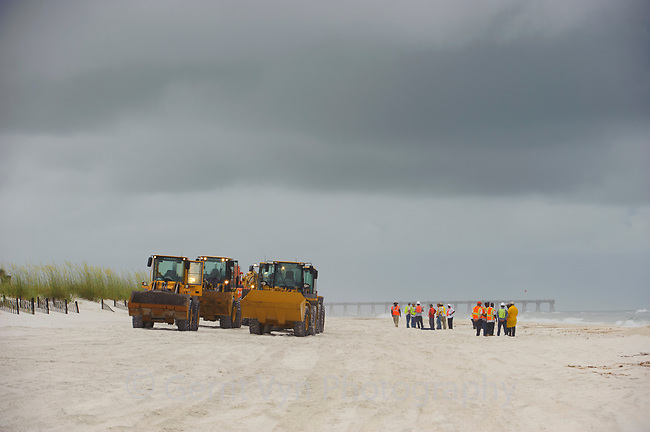 Heavy cleanup equipment on the beach in reponse to the Gulf oil spill. Baldwin County, Alabama. June 2010.