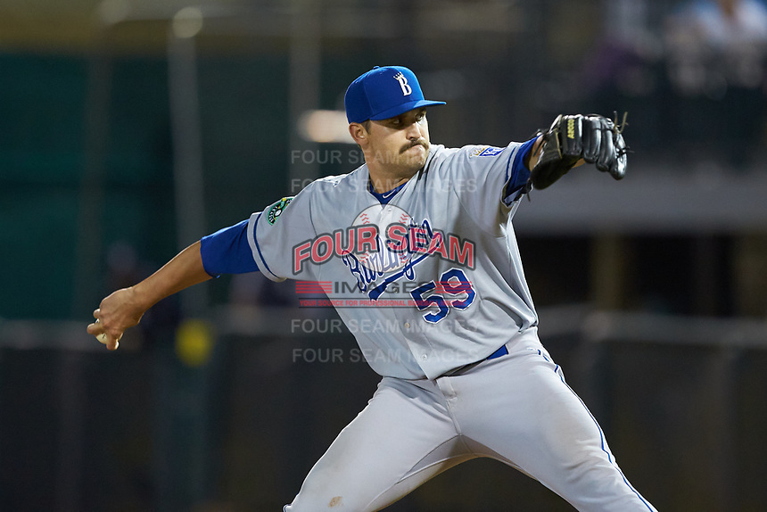 Burlington Royals relief pitcher Donavin Buck (59) in action against the Pulaski Yankees at Calfee Park on September 1, 2019 in Pulaski, Virginia. The Royals defeated the Yankees 5-4 in 17 innings. (Brian Westerholt/Four Seam Images)