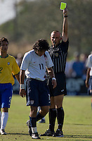 USA's Carlos Martinez (11) receives a yellow card. 2007 Nike Friendlies, which are taking place from Dec. 6-9 at IMG Academies in Bradenton, Fla.