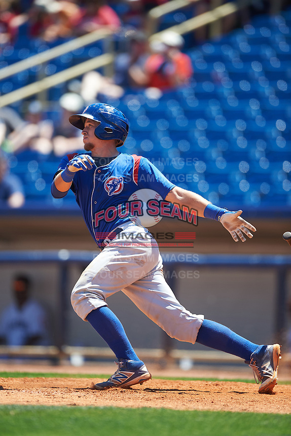 South Bend Cubs catcher P.J. Higgins (7) at bat during a game against the Lake County Captains on July 27, 2016 at Classic Park in Eastlake, Ohio.  Lake County defeated South Bend 5-4.  (Mike Janes/Four Seam Images)