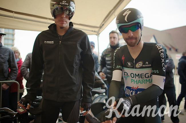 former teammates Boy van Poppel (NLD) & Thomas De Gendt (BEL) at the start podium<br /> <br /> 3 Days of West-Flanders 2014<br /> day 1: TT/prologue Middelkerke 7,0 km
