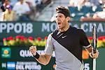 March 16, 2018: Juan Martin Del Potro (ARG) defeated Philipp Kohlschreiber (GER) 3-6, 6-3, 6-4 in Wells Tennis Garden in Indian Wells, California. ©Mal Taam/TennisClix/CSM