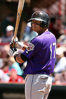 May 31, 2009:  Shortstop Carlos Rivero of the Akron Aeros at bat during a game at Jerry Uht Park in Erie, NY.  The Aeros are the Eastern League Double-A affiliate of the Cleveland Indians.  Photo by:  Mike Janes/Four Seam Images