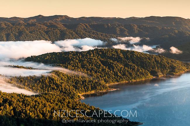 Sunrise with clouds over Lake Waikaremoana, Te Urewera, Hawke's Bay, North Island, New Zealand, NZ