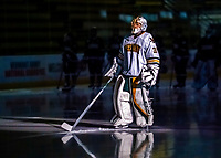 9 February 2020: University of Vermont Catamount Goaltender Blanka Škodová, a Sophomore from Šternberk, in the Czech Republic, is introduced as starting Goalie against the University of Connecticut Huskies at Gutterson Fieldhouse in Burlington, Vermont. The Lady Cats defeated the Huskies 6-2 in the second game of their weekend Hockey East series. Mandatory Credit: Ed Wolfstein Photo *** RAW (NEF) Image File Available ***