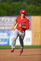 Williamsport Crosscutters third baseman Lucas Williams (12) running the bases during a game against the Auburn Doubledays on June 26, 2016 at Falcon Park in Auburn, New York.  Auburn defeated Williamsport 3-1.  (Mike Janes/Four Seam Images)