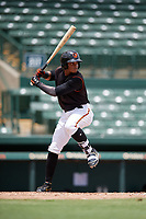 GCL Orioles Frank Tolentino (14) at bat during a Gulf Coast League game against the GCL Braves on August 5, 2019 at Ed Smith Stadium in Sarasota, Florida.  GCL Orioles defeated the GCL Braves 4-3 in the second game of a doubleheader.  (Mike Janes/Four Seam Images)