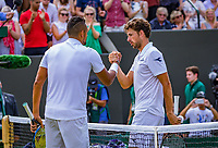 London, England, 5 th. July, 2018, Tennis,  Wimbledon, Men's singles, Robin Haase (NED) (R) congratulates  Nick Kyrgios (AUS)<br />