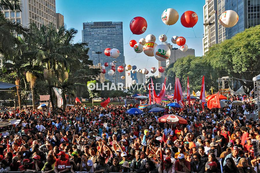 Evento Primeiro de Maio da CUT no Vale do Anhangabau. São Paulo. 2016. Fotos de Marcia Minillo.