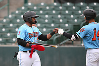 Devin Davis (22) of the Inland Empire 66ers is greeted by teammate Ryan Vega (14) during a game against the Stockton Ports at San Manuel Stadium on May 26, 2019 in San Bernardino, California. (Larry Goren/Four Seam Images)