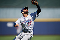 Jacksonville Jumbo Shrimp third baseman J.C. Millan (20) catches a popup during a Southern League game against the Mississippi Braves on May 5, 2019 at Trustmark Park in Pearl, Mississippi.  Mississippi defeated Jacksonville 1-0 in ten innings.  (Mike Janes/Four Seam Images)