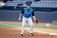Tampa Tarpons first baseman Mandy Alvarez (3) during the first game of a doubleheader against the Lakeland Flying Tigers on May 31, 2018 at George M. Steinbrenner Field in Tampa, Florida.  Tampa defeated Lakeland 3-0.  (Mike Janes/Four Seam Images)