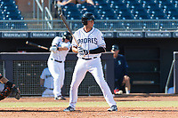 Peoria Javelinas outfielder third baseman Hudson Potts (13), of the San Diego Padres organization, at bat during an Arizona Fall League game against the Glendale Desert Dogs at Peoria Sports Complex on October 22, 2018 in Peoria, Arizona. Glendale defeated Peoria 6-2. (Zachary Lucy/Four Seam Images)