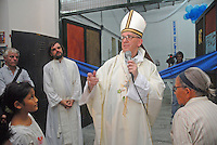 Newly elected Pope Jorge Bergoglio during one of his rutinary visits to a rehabilitation center for addicts  in a church facility in the south of Buenos Aires city, during Eastern 2008. In this center in Parque Patricios catholic priests gave shelter to the poor