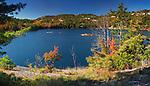 Beautiful fall nature scenery of Acid lake at Killarney Provincial Park, Ontario, Canada
