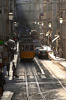tram rua do conceicao lisbon portugal