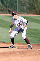 Zach Wilson #25 of the Arizona State Sun Devils plays first base in the annual Alumni Game on February 12, 2011 at Packard Stadium, Arizona State University, in Tempe, Arizona..Photo by:  Bill Mitchell/Four Seam Images.