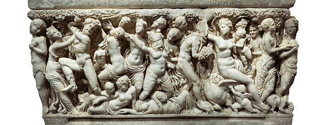 """Roman relief sculpted sarcophagus depicting a scene with Dionysus made in a Greek Attica workshop, 3rd century AD, Perge Inv 1.35.99. Antalya Archaeology Museum, Turkey . Against a white background.<br /> <br /> The lid of the sarcophagus is sculpted into the form of a """"Kline"""" style Roman couch on which lie Julianus &  Philiska. This type of Sarcophagus is also known as a Sydemara Type of Tomb."""