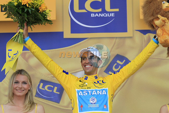 Race leader Alberto Contador (ESP) Astana retains the Yellow Jersey at end of Stage 18 of the 2010 Tour de France running 198km from Salies-de-Bearn to Bordeaux, France. 23rd July 2010.<br /> (Photo by Eoin Clarke/NEWSFILE).<br /> All photos usage must carry mandatory copyright credit (© NEWSFILE | Eoin Clarke)