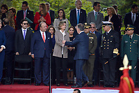 BOGOTÁ - COLOMBIA, 20-07-2018:  Llegada del presidente de Colombia Juan Manuel Santos para dar inicio al desfile Militar del 20 de Julio con motivo del 208 Aniversario de la Independencia de Colombia realizado por las calles de la ciudad de Bogotá. / Arrival of the president of Colombia Juan Manuel Santos to begin the July 20th Military Parade on the occasion of the 208th Anniversary Independence of Colombia that took place trough the streets of Bogota city. Photo: VizzorImage / Diego Cuevas / Cont