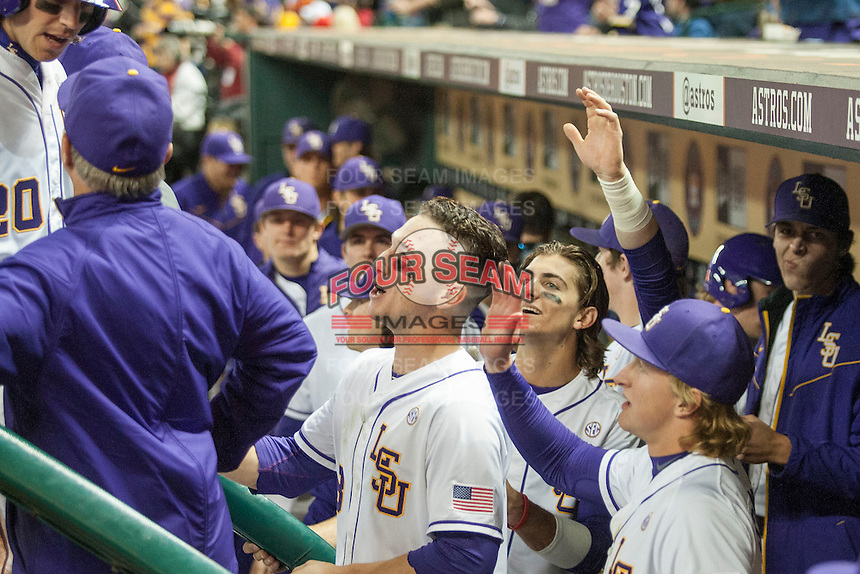LSU Tigers shortstop Alex Bregman (8) in the dugout during the NCAA baseball game against the Houston Cougars on March 6, 2015 at Minute Maid Park in Houston, Texas. LSU defeated Houston 4-2. (Andrew Woolley/Four Seam Images)