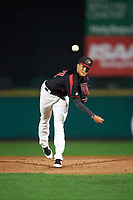 Rochester Red Wings starting pitcher Felix Jorge (47) follows through on a pitch during the second game of a doubleheader against the Scranton/Wilkes-Barre RailRiders on August 23, 2017 at Frontier Field in Rochester, New York.  Rochester defeated Scranton 1-0.  (Mike Janes/Four Seam Images)
