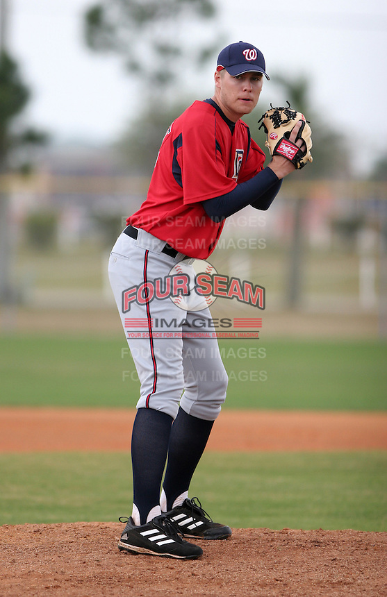 Washington Nationals minor leaguer Brett Nyquist during Spring Training at the Carl Barger Training Complex on March 20, 2007 in Melbourne, Florida.  (Mike Janes/Four Seam Images)