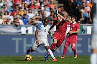 San Diego, CA - Sunday January 29, 2017: Darlington Nagbe, Nikola Cirkovic during an international friendly between the men's national teams of the United States (USA) and Serbia (SRB) at Qualcomm Stadium.