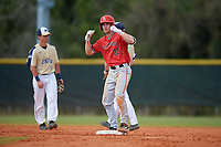 Ball State Cardinals right fielder Ross Messina (23) motions towards his teams bench during a game against the Mount St. Mary's Mountaineers on March 9, 2019 at North Charlotte Regional Park in Port Charlotte, Florida.  Ball State defeated Mount St. Mary's 12-9.  (Mike Janes/Four Seam Images)