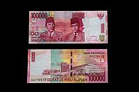 Yogyakarta, Java, Indonesia.  100,000 Rupiah Banknote.  Sukarno, Indonesia's first president; Mohammad Hatta, first vice president.