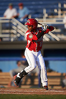 Batavia Muckdogs catcher Pablo Garcia (7) at bat during a game against the Brooklyn Cyclones on July 5, 2016 at Dwyer Stadium in Batavia, New York.  Brooklyn defeated Batavia 5-1.  (Mike Janes/Four Seam Images)