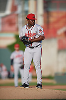 Richmond Flying Squirrels pitcher Raffi Vizcaino (55) during an Eastern League game against the Erie SeaWolves on August 28, 2019 at UPMC Park in Erie, Pennsylvania.  Richmond defeated Erie 6-4 in the first game of a doubleheader.  (Mike Janes/Four Seam Images)