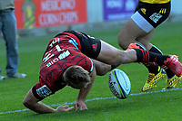 Crusaders' Braydon Ennor scores during the Super Rugby Aotearoa match between the Hurricanes and Crusaders at Sky Stadium in Wellington, New Zealand on Saturday, 21 June 2020. Photo: Dave Lintott / lintottphoto.co.nz