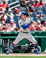 1 August 2018: New York Mets outfielder Brandon Nimmo at bat against the Washington Nationals at Nationals Park in Washington, DC. The Nationals defeated the Mets 5-3 to sweep the 2-game weekday series. Mandatory Credit: Ed Wolfstein Photo *** RAW (NEF) Image File Available ***