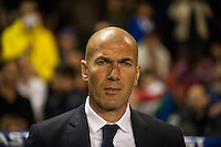 VALENCIA, SPAIN - MARCH 2: Zinedine Zidane during BBVA League match between VLevante U.D. and R. Madrid at Ciudad de Valencia Stadium on March 2, 2015 in Valencia, Spain