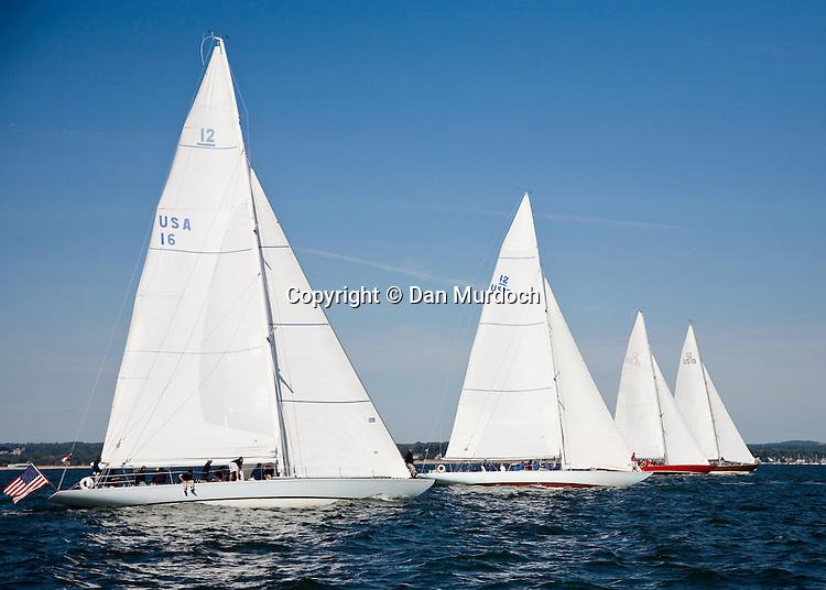 Vintage 12-meter sailboat(s) racing in Long Island Sound
