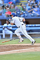 Asheville Tourists catcher Austin Bernard (2) runs to first base during a game against the Greensboro Grasshoppers at McCormick Field on May 10, 2018 in Asheville, North Carolina. The Tourists defeated the Grasshoppers 14-10. (Tony Farlow/Four Seam Images)