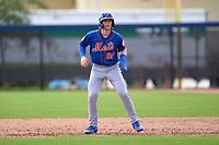 New York Mets Brett Baty (96) leads off during a Minor League Spring Training game against the Houston Astros on April 27, 2021 at FITTEAM Ballpark of the Palm Beaches in Palm Beach, Fla.  (Mike Janes/Four Seam Images)