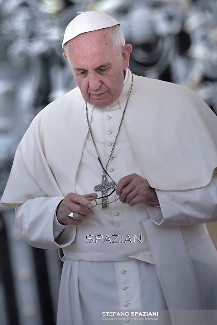 Pope Francis  during his weekly general audience in St. Peter square at the Vatican, Wednesday.17 June 2015