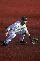 Charlotte 49ers third baseman Josh Haney (6) on defense against the Marshall Thundering Herd at Hayes Stadium on March 22, 2019 in Charlotte, North Carolina. The Thundering Herd defeated the 49ers 12-6. (Brian Westerholt/Four Seam Images)