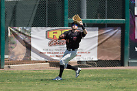 Visalia Rawhide left fielder Mark Karaviotis (24) prepares to catch a fly ball during a California League game against the Stockton Ports at Visalia Recreation Ballpark on May 9, 2018 in Visalia, California. Stockton defeated Visalia 4-2. (Zachary Lucy/Four Seam Images)