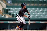 GCL Orioles Christopher Burgess (48) hits an RBI single in the top of the seventh inning to give his team the lead during a Gulf Coast League game against the GCL Braves on August 5, 2019 at Ed Smith Stadium in Sarasota, Florida.  GCL Orioles defeated the GCL Braves 4-3 in the second game of a doubleheader.  (Mike Janes/Four Seam Images)